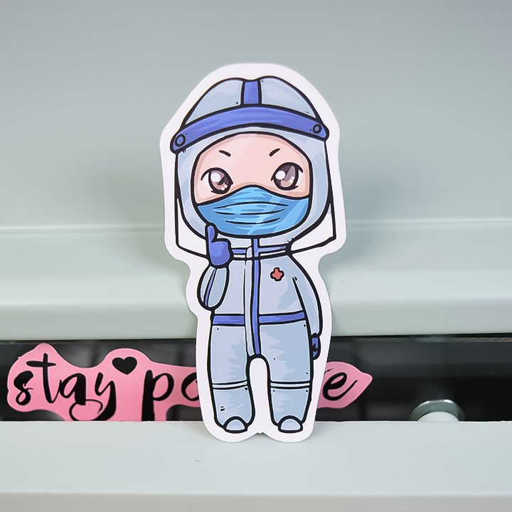Protective personnel cartoon stickers