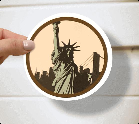 Statue-of-liberty-circular-sticker